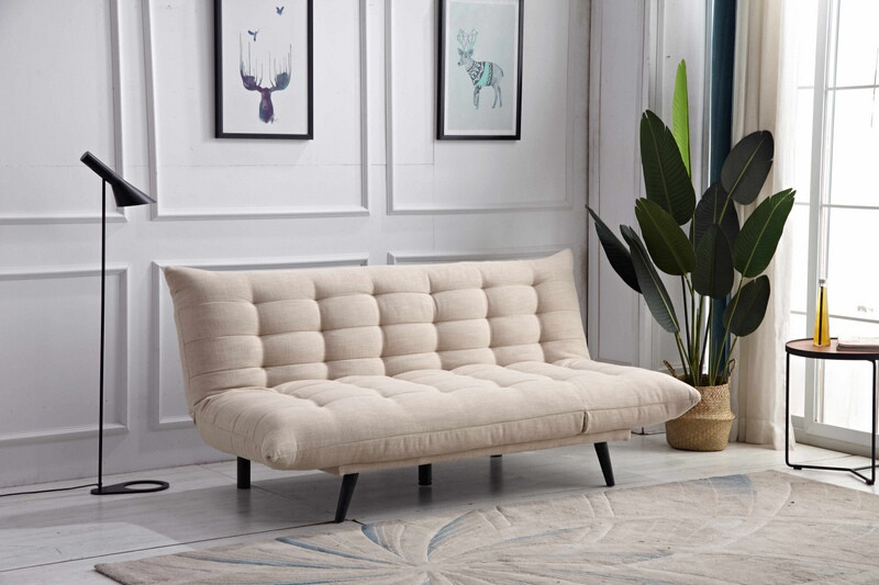 8356-BG Ophelia beige fabric click clack folding futon sofa bed lounge