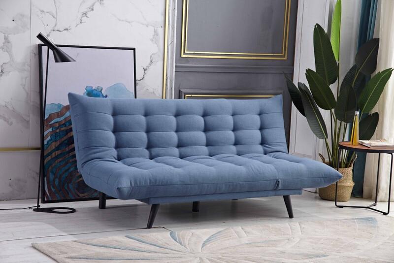 8359-BL Ophelia blue fabric click clack folding futon sofa bed lounge