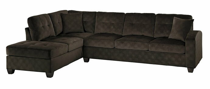 Homelegance 8367CH-2pc 2 pc emilio chocolate textured microfiber reversible sectional sofa set
