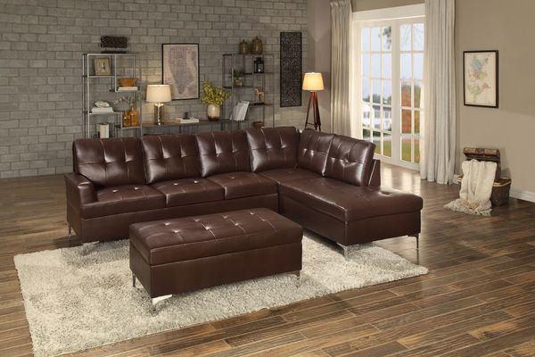 Homelegance 8378BRW-2pc 2 pc barrington brown vinyl sectional sofa set chrome modern legs