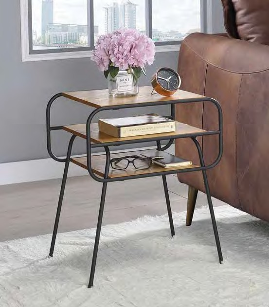Acme 83870 Ivy bronx lattimer kaseko oak finish top black finish frame end table