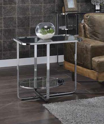 Acme 83932 Orren ellis latonia hollo chrome finish frame glass legs end table
