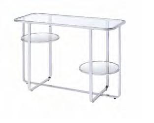 Acme 83934 Orren ellis latonia hollo chrome finish frame glass legs sofa entry hall console table
