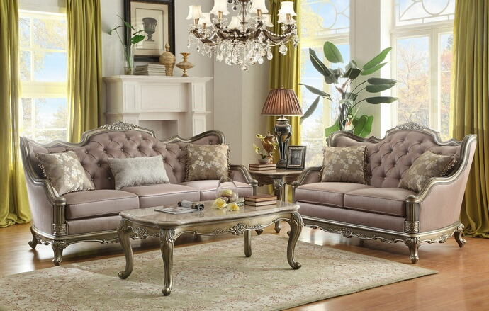 2 pc florentina collection dusky taupe faux silk fabric upholstered sofa and love seat set with wood trim