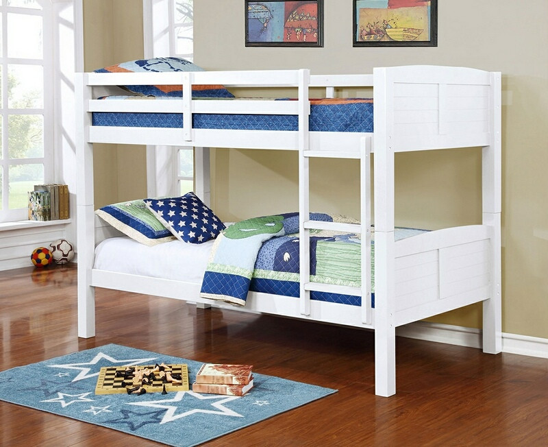 Asia Direct 8431-WH Marylynn white finish wood twin / twin bunk bed set