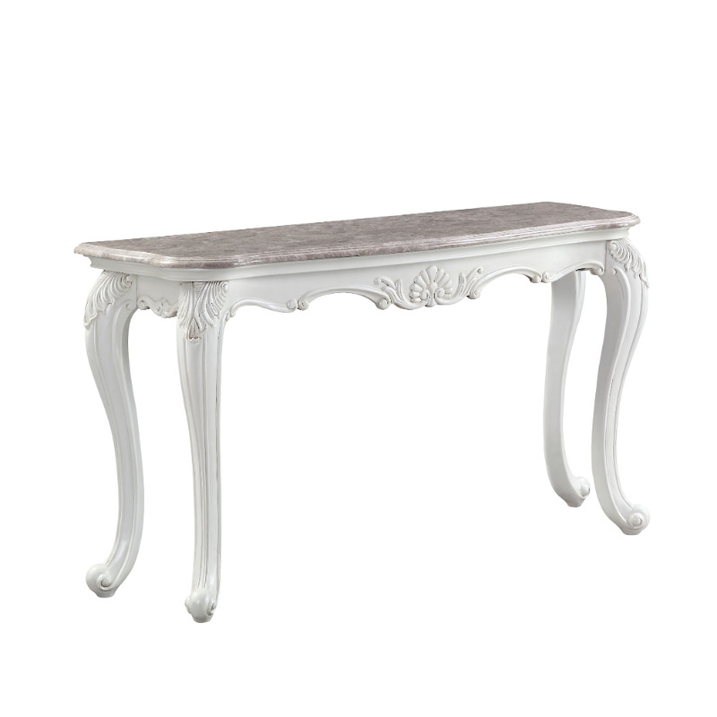 Acme 84313 Astoria grand ciddrenar classic white finish wood marble top sofa table