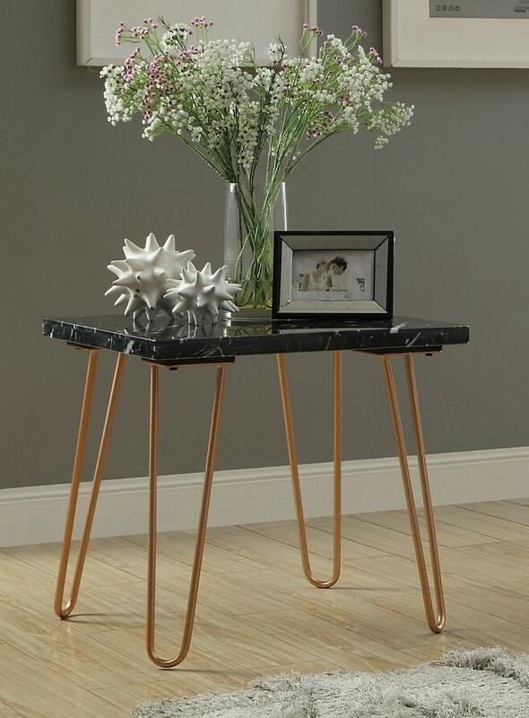 Acme 84507 Ivy bronx whitesburg telestis black marble gold finish frame chair side end table