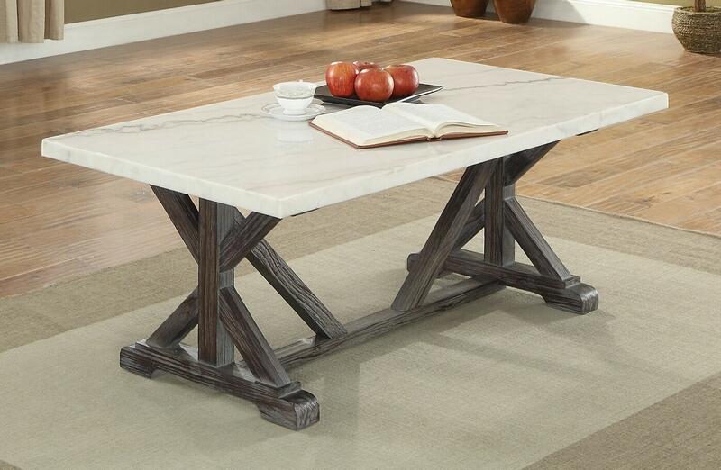 Acme 84545 Gracie oak alexandria romina weathered espresso finish wood white marble top coffee table