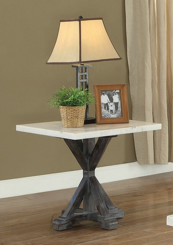 Acme 84547 Gracie oaks alexandria romina weathered espresso finish wood white marble top chair side end table