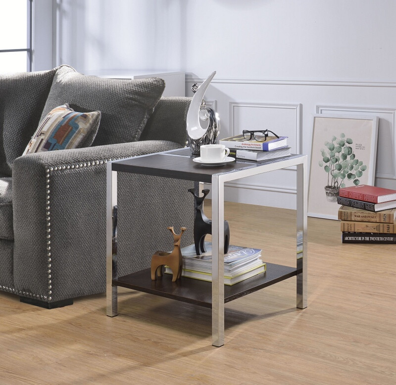 Acme 84647 Jethro espresso finish wood chrome chair side end table