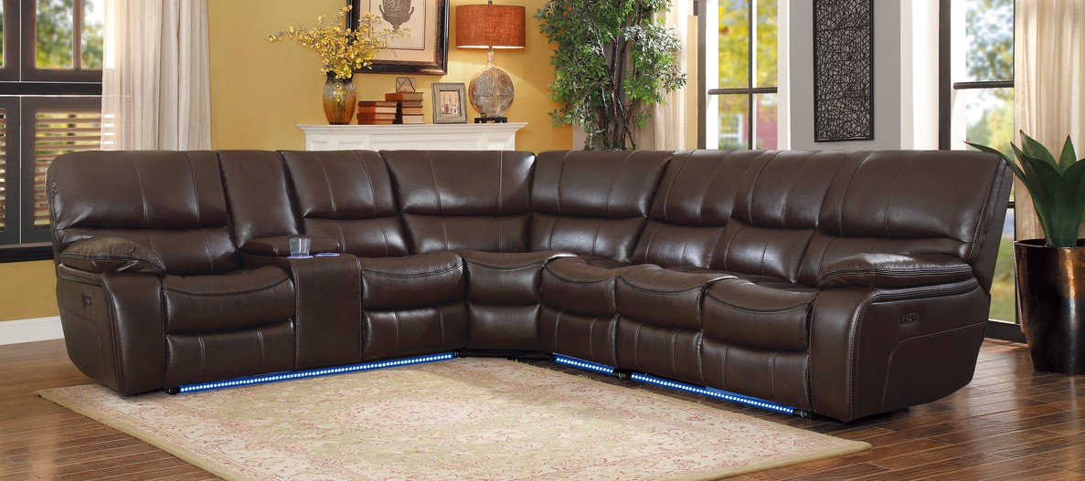 Homelegance 8480BRW-4SCPD 4 pc pecos brown leather gel match sectional sofa power motion recliner ends
