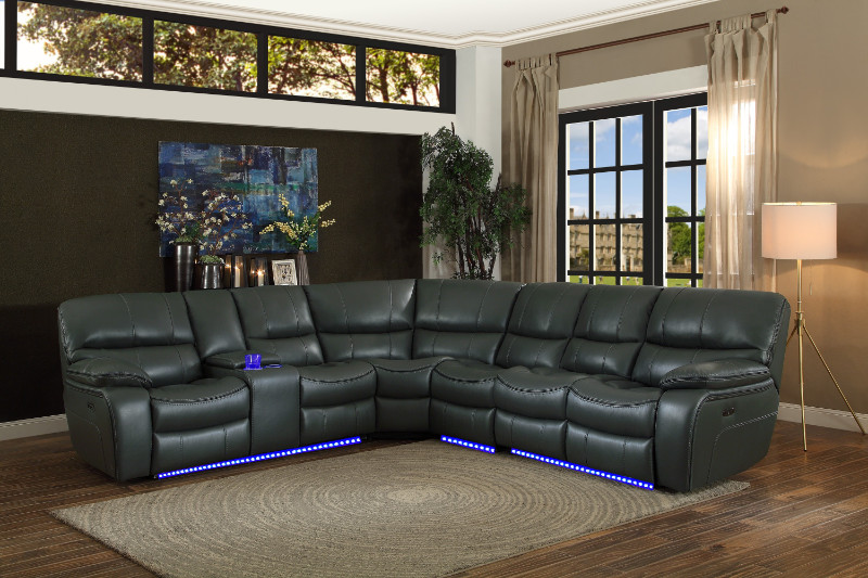 Homelegance HE-8480GRY-4SCPD 4 pc pecos grey leather gel match sectional sofa power motion recliner ends