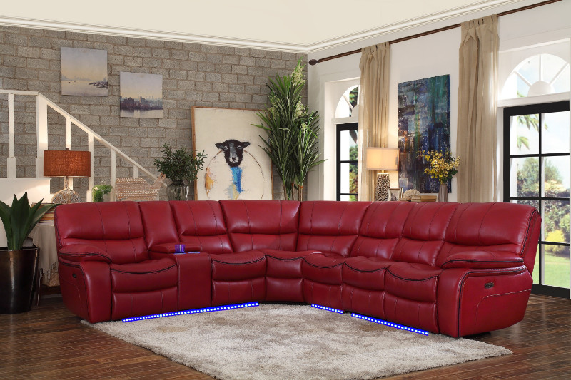 Homelegance HE-8480RED-4SCPD 4 pc pecos red leather gel match sectional sofa power motion recliner ends
