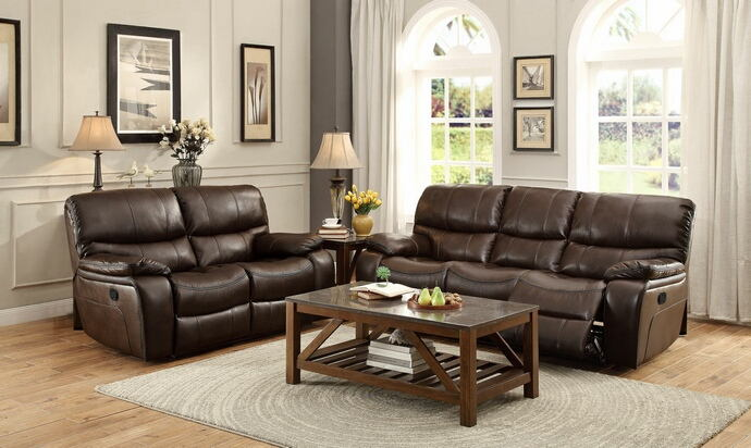 2 pc pecos collection contemporary style brown leather gel match power motion sofa and love seat set