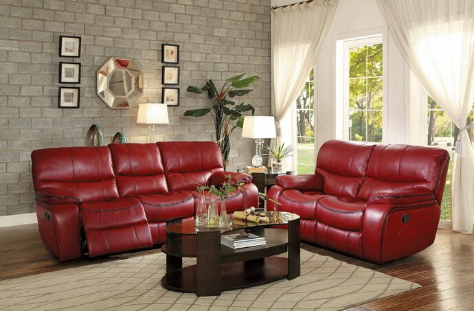 2 pc pecos collection contemporary style red leather gel match motion sofa and love seat set