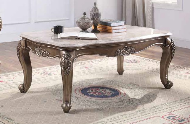 Acme 84865 Astoria grand jacqueline jayceon champagne finish wood marble top coffee table