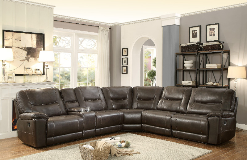 Home Elegance 8490-6LRRR 6 pc Columbus dark brown leather gel match sectional sofa with recliners