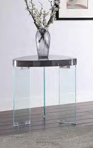 Acme 84917 Everly quinn cullompt noland gray high gloss finish top clear glass legs end table