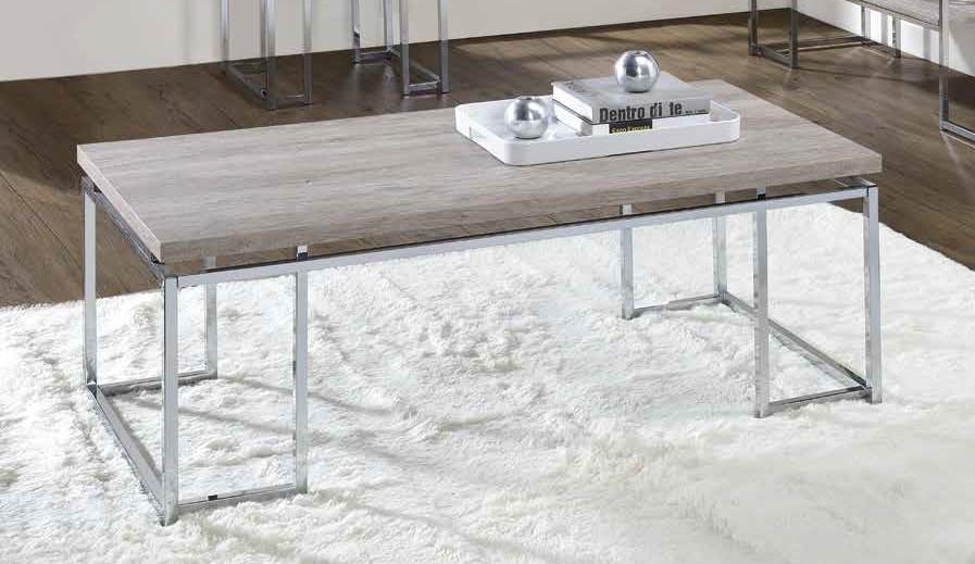 Acme 85370 17 stories gambier chafik natural oak finish wood chrome metal frame coffee table