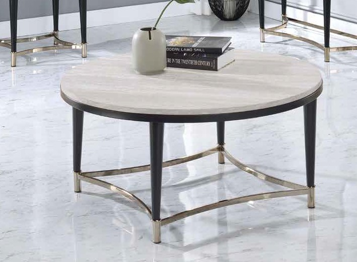 Acme 85380 17 stories gambier ayser white washed finish wood black metal frame round coffee table