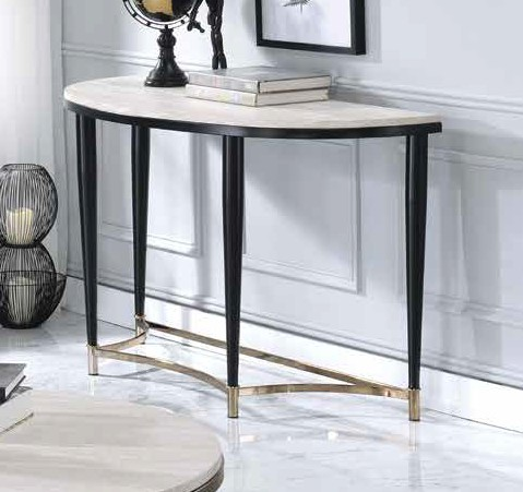 Acme 85383 17 stories gambier ayser white washed finish wood black metal frame round sofa entry hall console table