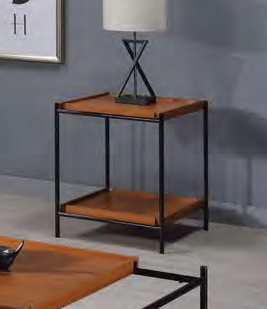 Acme 85677 17 stories gambier oaken honey oak finish wood black metal frame end table