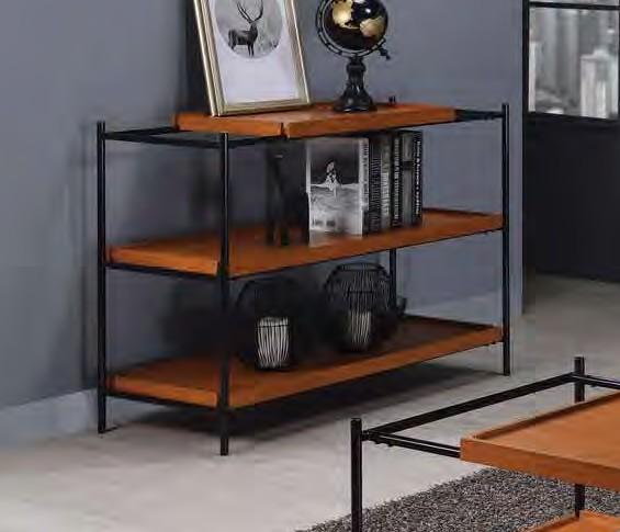 Acme 85678 17 stories gambier oaken honey oak finish wood black metal frame sofa entry hall console table