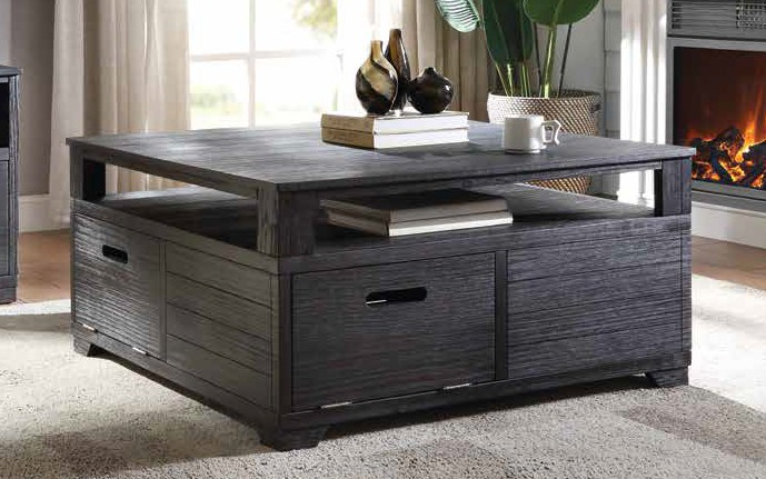 Acme 85965 Millwood pines bohanan kamilia antique black finish wood coffee table with doors