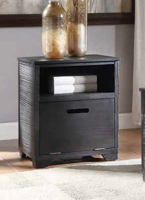 Acme 85967 Millwood pines bohanan kamilia antique black finish wood end table with door