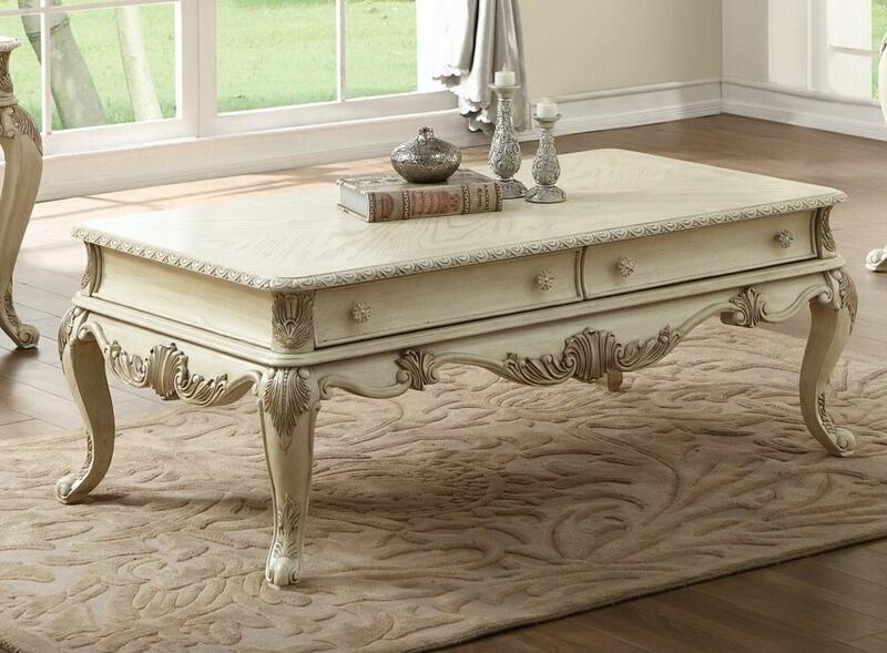 Acme 86020 Rosdorf park lorentz ragenardus antique white finish wood coffee table