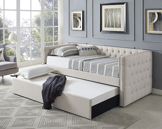 Asia Direct 8612 Suzanne II beige tufted linen like fabric upholstered twin size day bed with trundle
