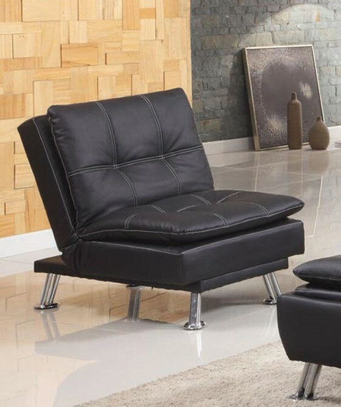 Asia Direct 8631-BK Black faux leather accented stitching tufted adjustable single seat futon chair
