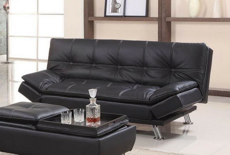 Asia Direct 8632-BK Black faux leather accented stitching tufted adjustable futon sofa bed
