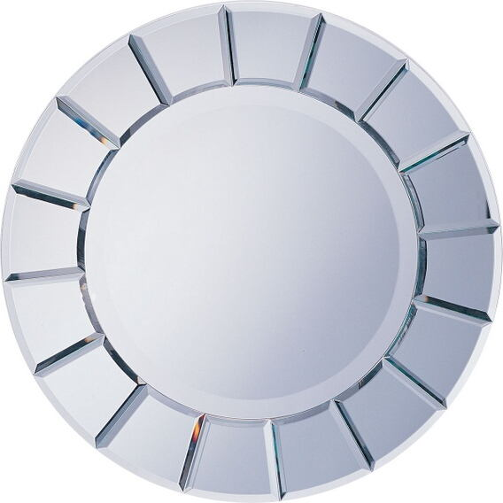 "Sun shaped beveled glass design modern art style design wall mirror.   measures 30"" x 30"" ."