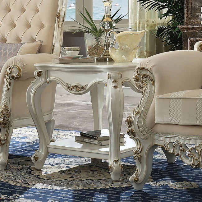 Acme 86882 Rosdork park severine picardy II antique pearl finish wood carved accents end table