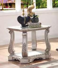 Acme 86932 Rosodrf park forsyth northville antique silver finish wood glass top end table