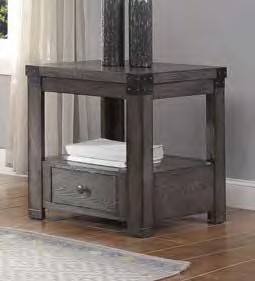Acme 87102 Brayden studio haleyville melville ash gray finish wood end table with drawer