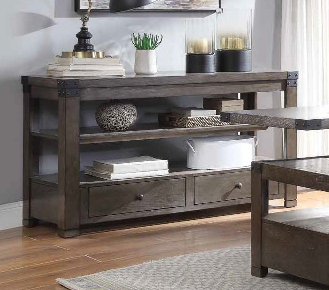 Acme 87103 Brayden studio haleyville melville ash gray finish wood sofa entry hall console table