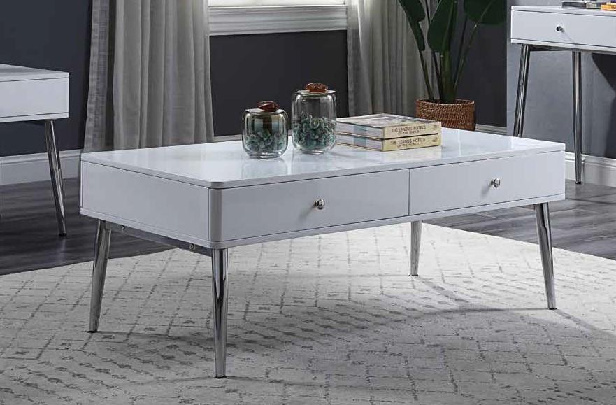 Acme 87150 Orren ellis silikou weizoi mid century modern white high gloss finish coffee table