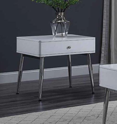 Acme 87152 Orren ellis silikou weizoi mid century modern white high gloss finish end table