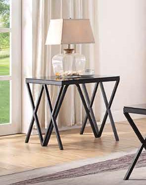 Acme 87156 Ivy bronx lattimer magenta black finish frame glass top end table