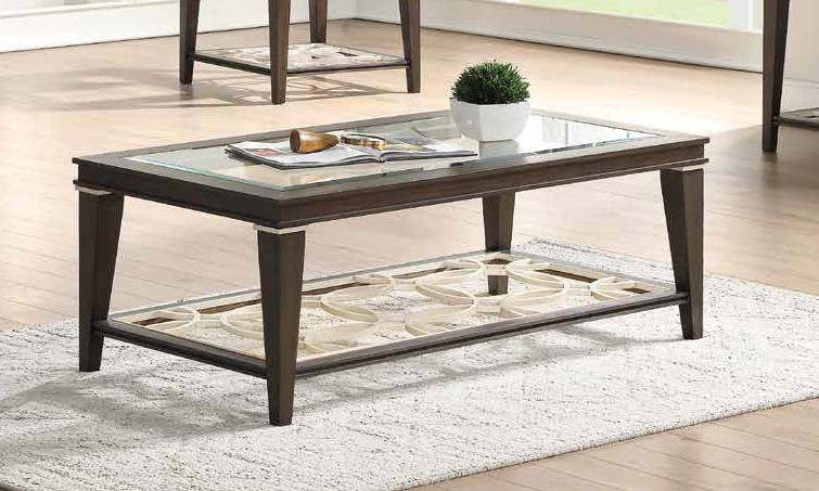 Acme 87990 One allium way candice peregrine walnut finish wood clear glass top coffee table