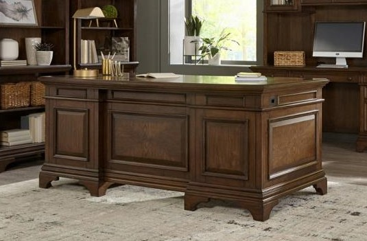 881281 Canora grey parthenia Hartshill burnished oak finish wood grand style desk set for your home or office