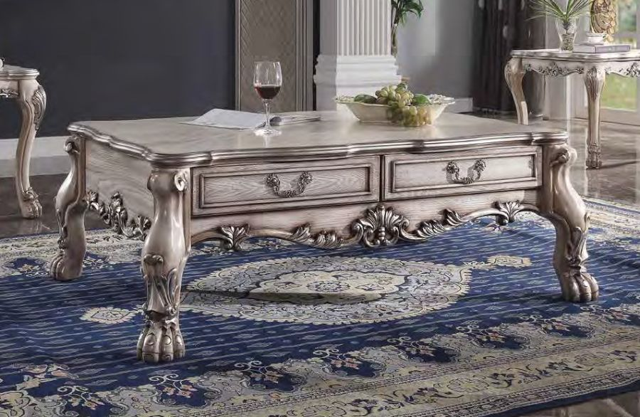 Acme 88175 Rosdorf park caiden dresden vintage bone white finish wood carved accents coffee table