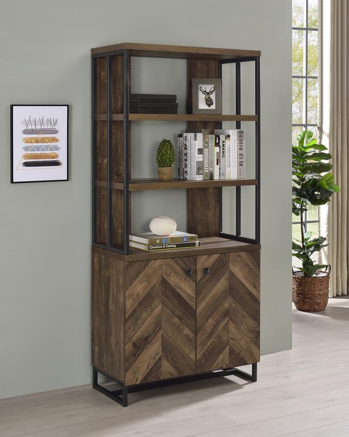 882093 Ivy bronx hoopes millbrook rustic oak herringbone finish wood gunmetal frame book shelf