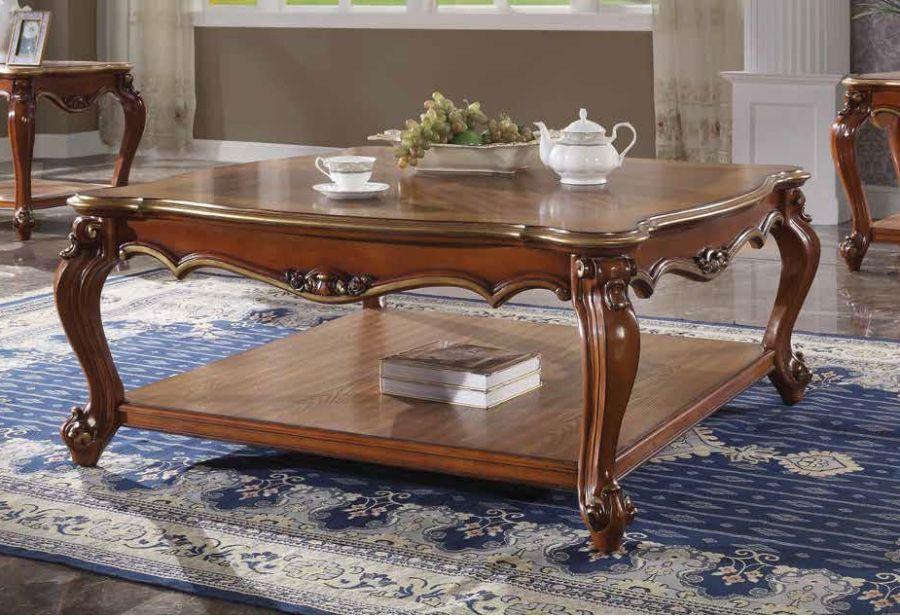 Acme 88220 Rosdorf park severine picardy II vintage cherry oak finish wood carved accents coffee table