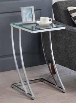 Sky collection chrome metal finish and tempered glass top side table