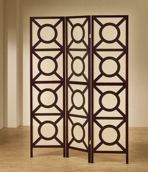 "3 panel espresso finish wood frame room divider shoji screen with circles design.   measures 3 (18"" wide panels ) x 70"" h."