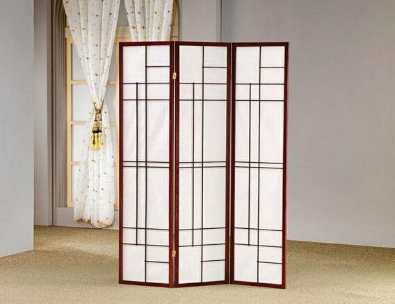 3 panel mahogany finish wood room divider shoji screen with geometric pattern