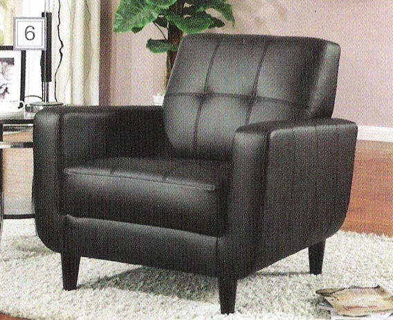 900204 Black leather like vinyl accent side chair with tufted back and rounded bottom with espresso finish wood legs